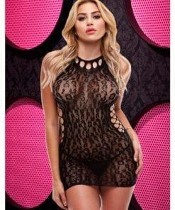 Leopard Lace High Neck Mini Dress