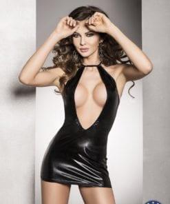 Mini Dress Femi Wet Look Open Bust Black