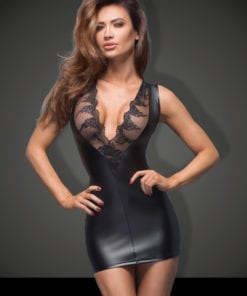 Power Wetlook Mini Dress With Lace Cleavage