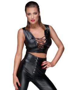 Power Wetlook Top With Lacing And Adjustable Straps